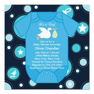 Invitaciones azules de la ducha del bebé de los invitación 13,3 cm x 13,3cm