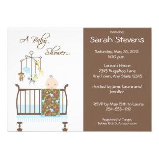 Invitaciones azules de la fiesta de bienvenida al comunicado personalizado