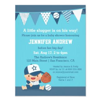 Invitaciones azules de la fiesta de bienvenida al invitación 10,8 x 13,9 cm