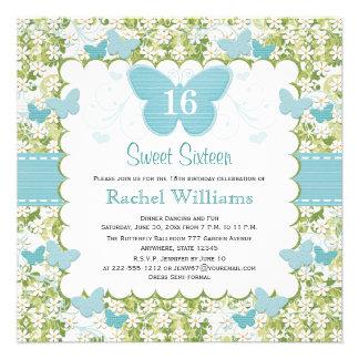 Invitaciones azules de la foto del dulce 16 de la  comunicados