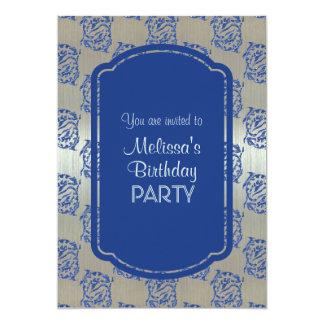 Invitaciones azules de plata de la fiesta de invitación 12,7 x 17,8 cm