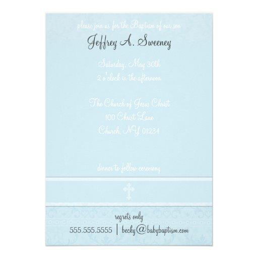 Invitaciones azules del bautismo de la elegancia invitación