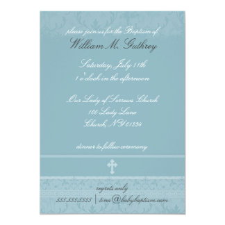 Invitaciones azules del bautismo de la elegancia invitación 12,7 x 17,8 cm