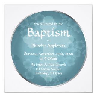 Invitaciones azules del bautismo de la pizarra invitación 13,3 cm x 13,3cm