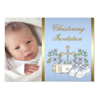 Invitaciones azules del bautizo de la foto del invitación 12,7 x 17,8 cm
