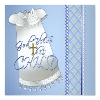 Invitaciones azules del bautizo del vestido de los invitación 13,3 cm x 13,3cm