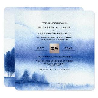 Invitaciones azules del boda del bosque del