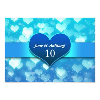 invitaciones azules del corazón del aniversario de invitación 12,7 x 17,8 cm