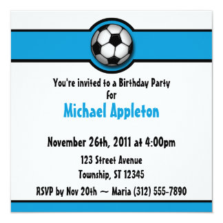 Invitaciones azules del cumpleaños del balón de invitación 13,3 cm x 13,3cm