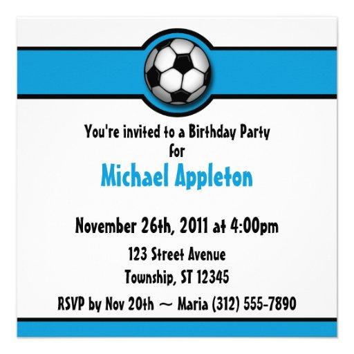 Invitaciones azules del cumpleaños del balón de fú anuncios