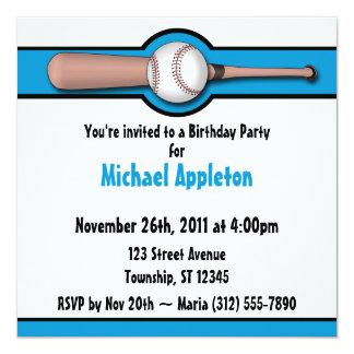 Invitaciones azules del cumpleaños del béisbol invitación 13,3 cm x 13,3cm