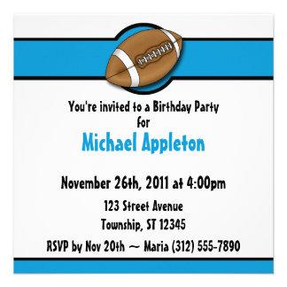 Invitaciones azules del cumpleaños del fútbol comunicado