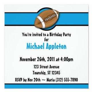 Invitaciones azules del cumpleaños del fútbol invitación 13,3 cm x 13,3cm