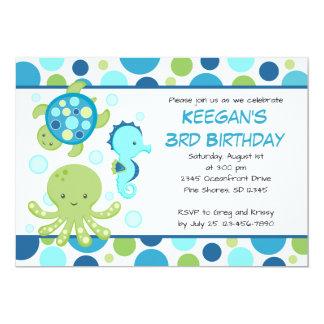 Invitaciones azules del cumpleaños del mar