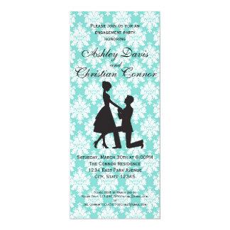 Invitaciones azules del damasco invitación 10,1 x 23,5 cm