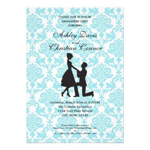 Invitaciones azules del damasco invitacion personalizada