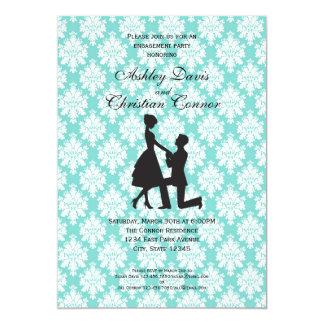 Invitaciones azules del damasco invitación 12,7 x 17,8 cm