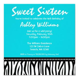 Invitaciones azules del dulce 16 de la cebra del invitación 13,3 cm x 13,3cm