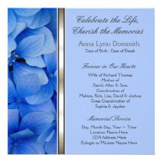 Invitaciones azules del entierro del Hydrangea Comunicados Personales