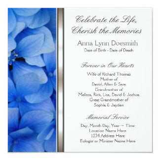 Invitaciones azules del entierro del Hydrangea