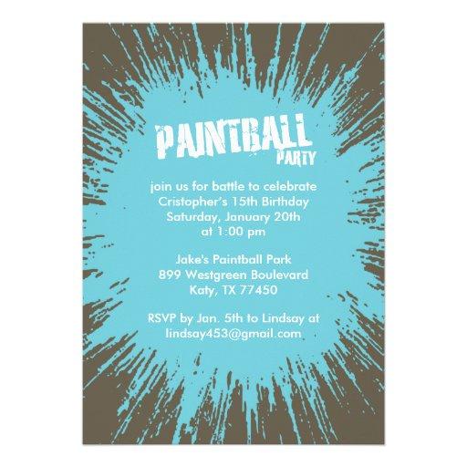 Invitaciones azules del fiesta de la salpicadura d invitacion personalizada