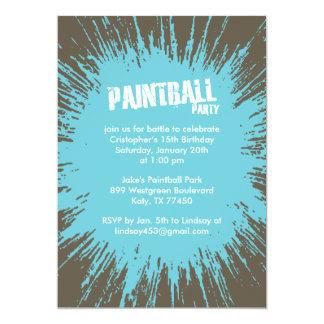 Invitaciones azules del fiesta de la salpicadura invitación 12,7 x 17,8 cm