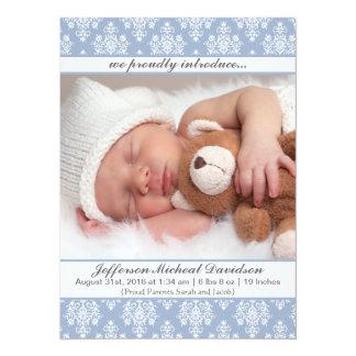 Invitaciones azules del nacimiento del bebé del invitación 13,9 x 19,0 cm