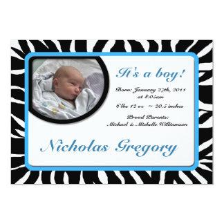 Invitaciones azules del nacimiento del estampado invitación 12,7 x 17,8 cm