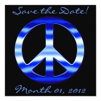Invitaciones azules del signo de la paz del cromo anuncios personalizados