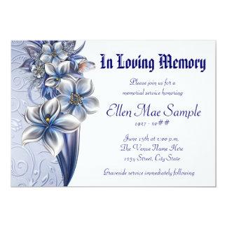 Invitaciones azules elegantes de la ceremonia invitación 12,7 x 17,8 cm