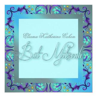 Invitaciones azules verde azuladas de Mitzvah del
