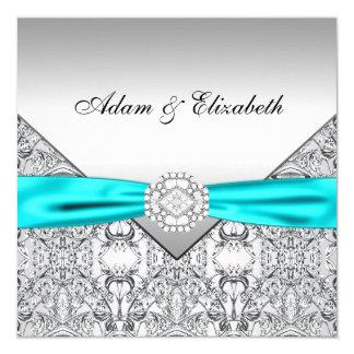 Invitaciones azules verde azuladas de plata