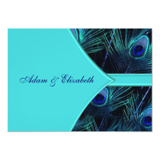 Invitaciones azules verde azuladas reales del boda invitación 12,7 x 17,8 cm