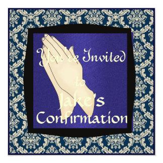 INVITACIONES azules y beige de la CONFIRMACIÓN del Anuncio