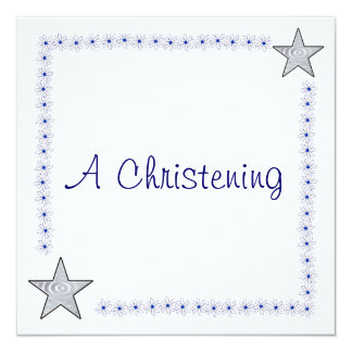 Invitaciones azules y blancas bonitas del bautizo invitación 13,3 cm x 13,3cm