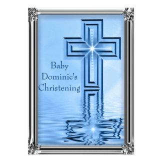 Invitaciones azules y de plata elegantes del bauti invitaciones personalizada