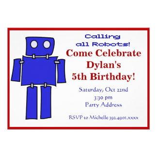 Invitaciones azules y rojas de la fiesta de cumple