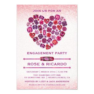 Invitaciones Bejeweled del fiesta de compromiso Invitación 12,7 X 17,8 Cm