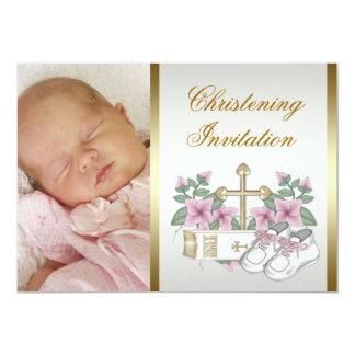 Invitaciones blancas del bautizo de la foto de la invitación 12,7 x 17,8 cm
