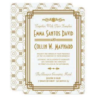 Invitaciones blancas del boda del art déco