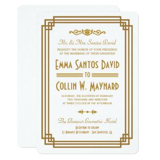Invitaciones blancas del boda del art déco simple invitación 12,7 x 17,8 cm