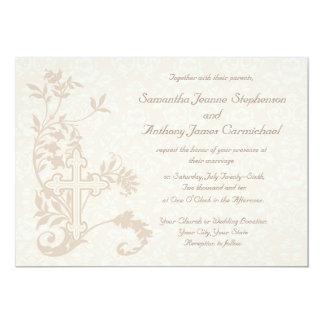 Invitaciones blancas del boda del Flourish cruzado Invitacion Personalizada