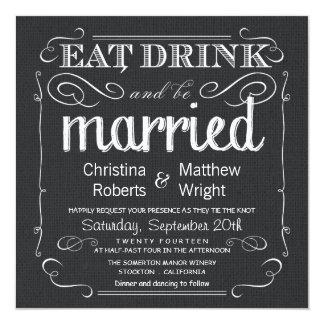 Invitaciones blancas del boda del negro rústico de invitación 13,3 cm x 13,3cm