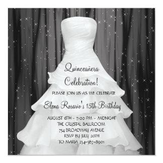 Invitaciones blancas negras de Quinceanera del Invitación 13,3 Cm X 13,3cm