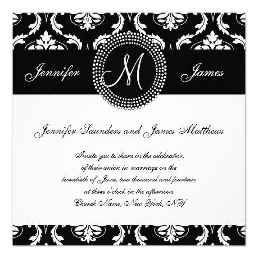Invitaciones blancas negras del boda de la inicial comunicados personales