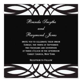 Invitaciones blancas negras del boda del art déco invitación 13,3 cm x 13,3cm