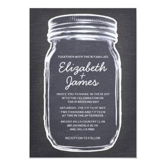 Invitaciones blancas negras del boda del tarro de invitación 12,7 x 17,8 cm