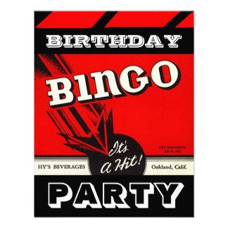 Invitaciones blancas negras rojas del bingo del fi invitacion personalizada