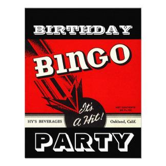 Invitaciones blancas negras rojas del bingo del fi comunicados