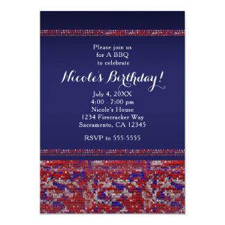 Invitaciones blancas y azules rojas del fiesta de